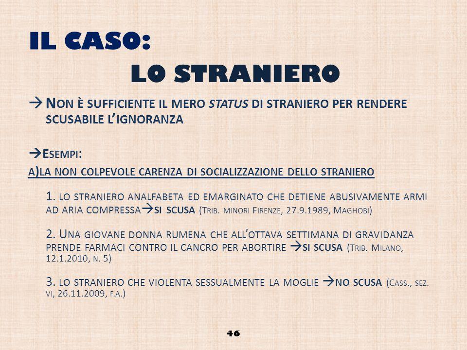 IL CASO: LO STRANIERO. Non è sufficiente il mero status di straniero per rendere scusabile l'ignoranza.
