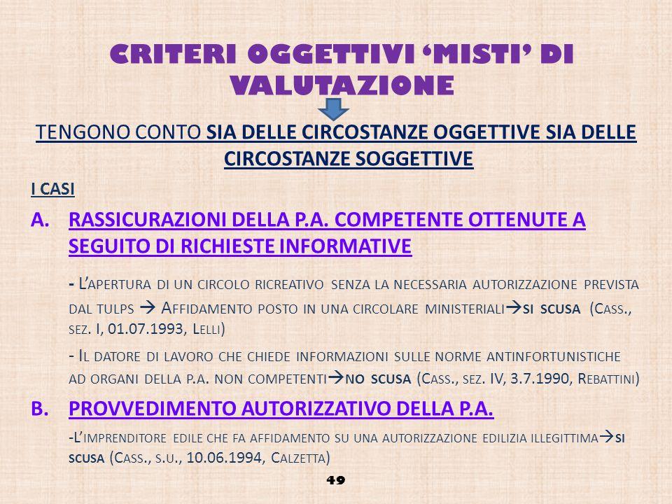 CRITERI OGGETTIVI 'MISTI' DI VALUTAZIONE