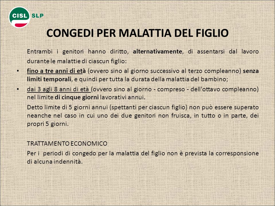 CONGEDI PER MALATTIA DEL FIGLIO