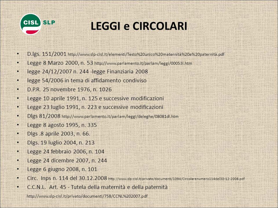 LEGGI e CIRCOLARI D.lgs. 151/2001 http://www.slp-cisl.it/elementi/Testo%20unico%20maternità%20e%20paternità.pdf.