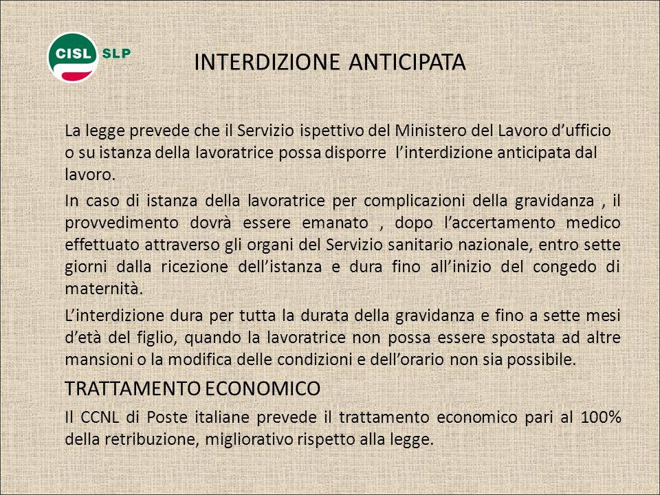 INTERDIZIONE ANTICIPATA