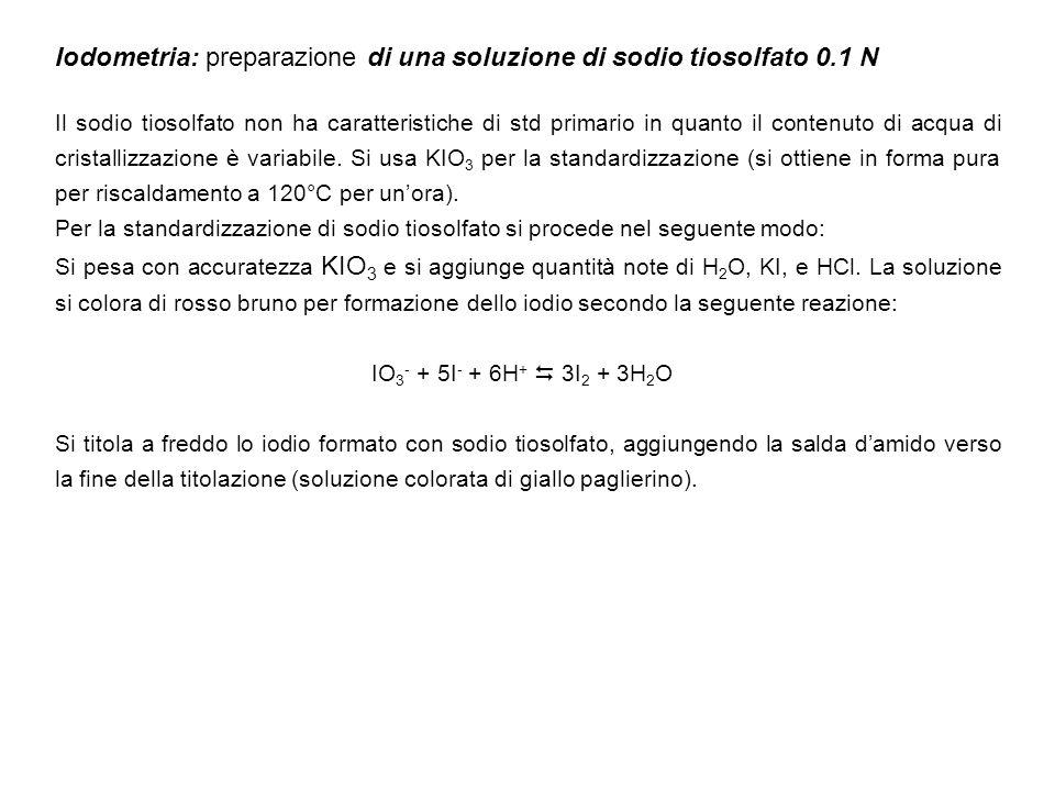 Iodometria: preparazione di una soluzione di sodio tiosolfato 0.1 N