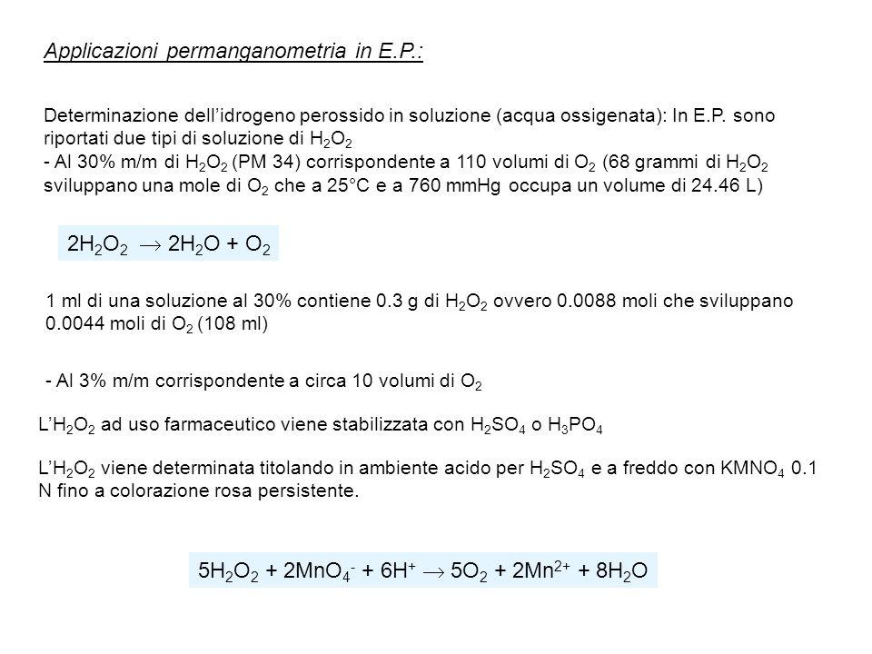 Applicazioni permanganometria in E.P.: