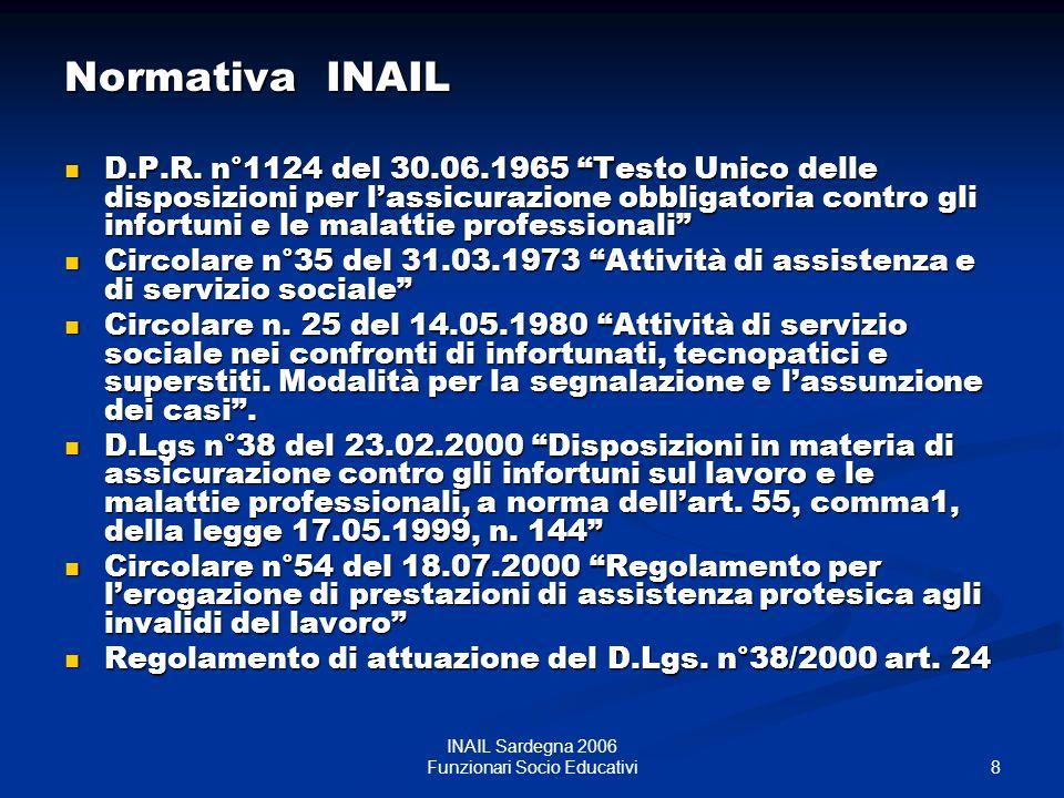 INAIL Sardegna 2006 Funzionari Socio Educativi