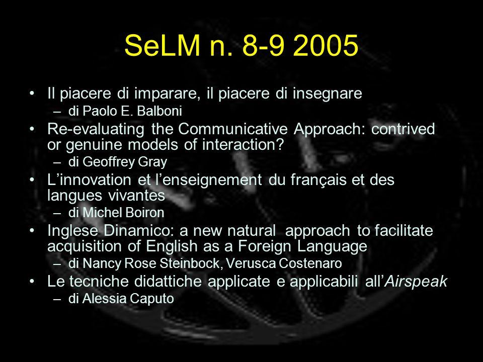 SeLM n. 8-9 2005 Il piacere di imparare, il piacere di insegnare