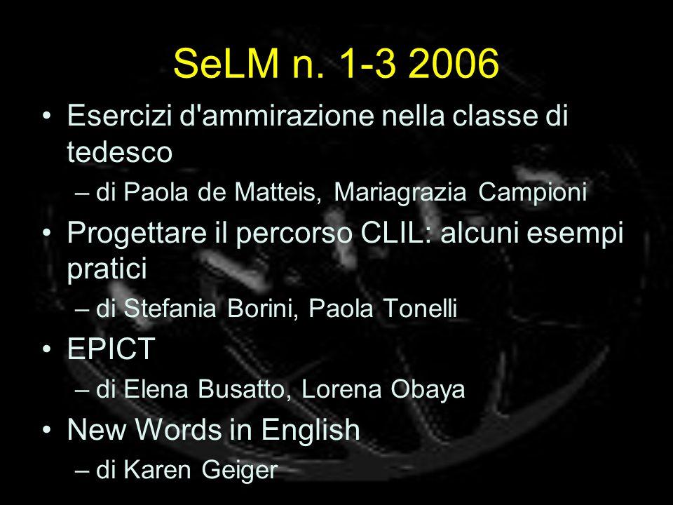 SeLM n. 1-3 2006 Esercizi d ammirazione nella classe di tedesco