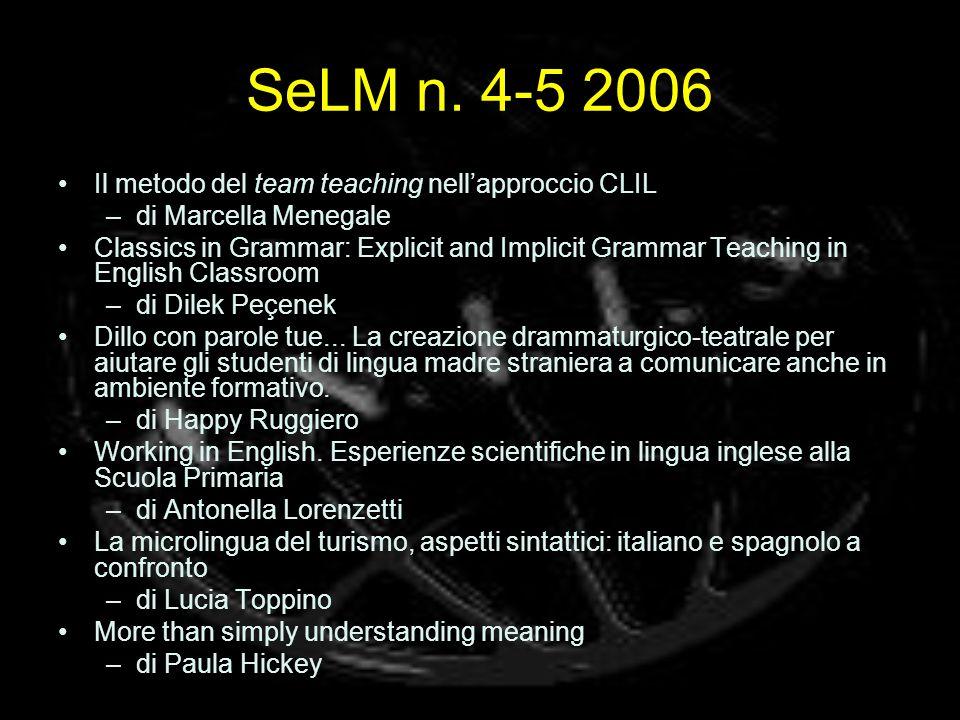 SeLM n. 4-5 2006 Il metodo del team teaching nell'approccio CLIL