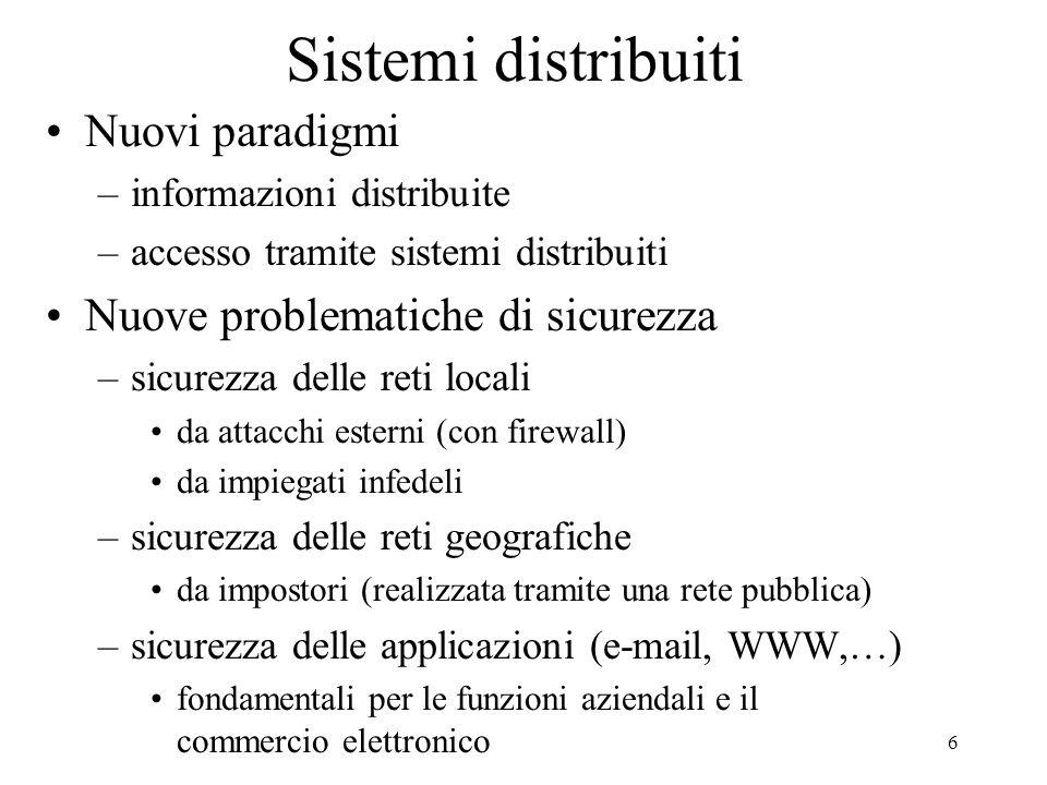 Sistemi distribuiti Nuovi paradigmi Nuove problematiche di sicurezza
