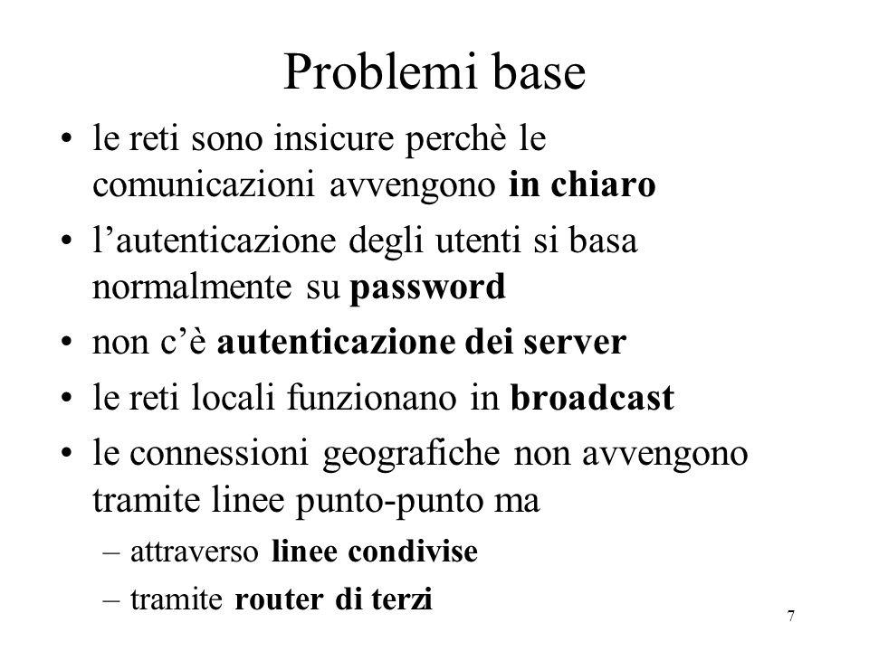 Problemi base le reti sono insicure perchè le comunicazioni avvengono in chiaro. l'autenticazione degli utenti si basa normalmente su password.