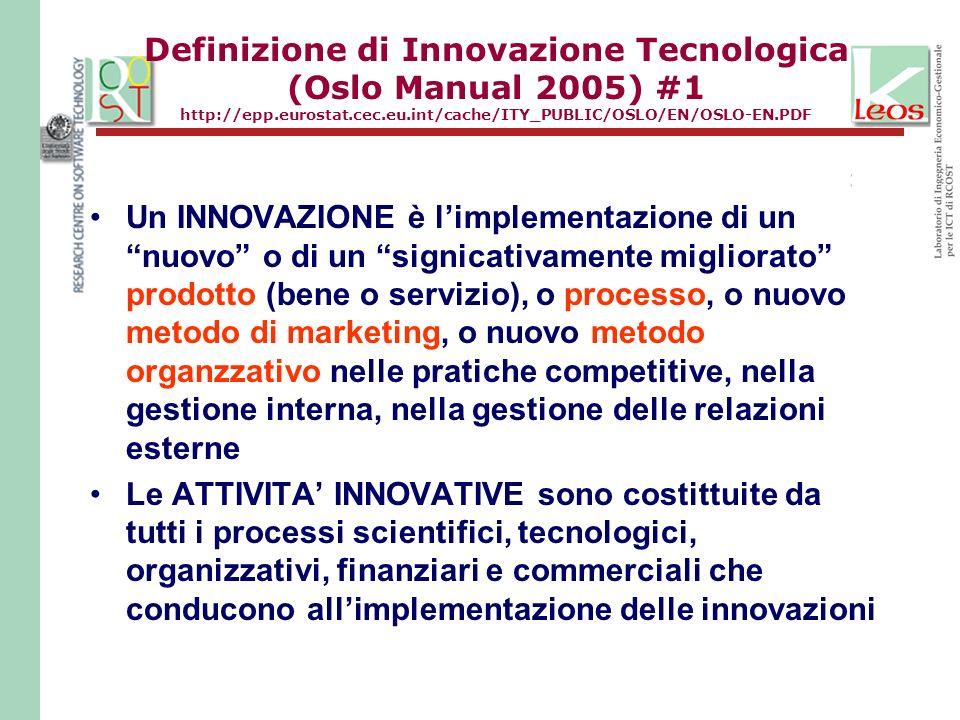 Definizione di Innovazione Tecnologica (Oslo Manual 2005) #1 http://epp.eurostat.cec.eu.int/cache/ITY_PUBLIC/OSLO/EN/OSLO-EN.PDF