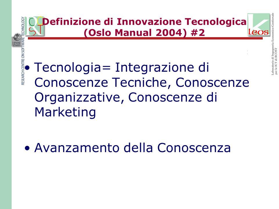 Definizione di Innovazione Tecnologica (Oslo Manual 2004) #2