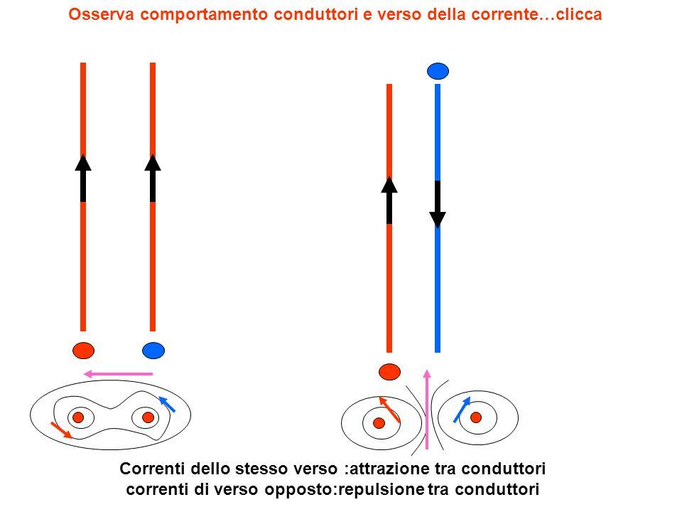 Osserva comportamento conduttori e verso della corrente…clicca