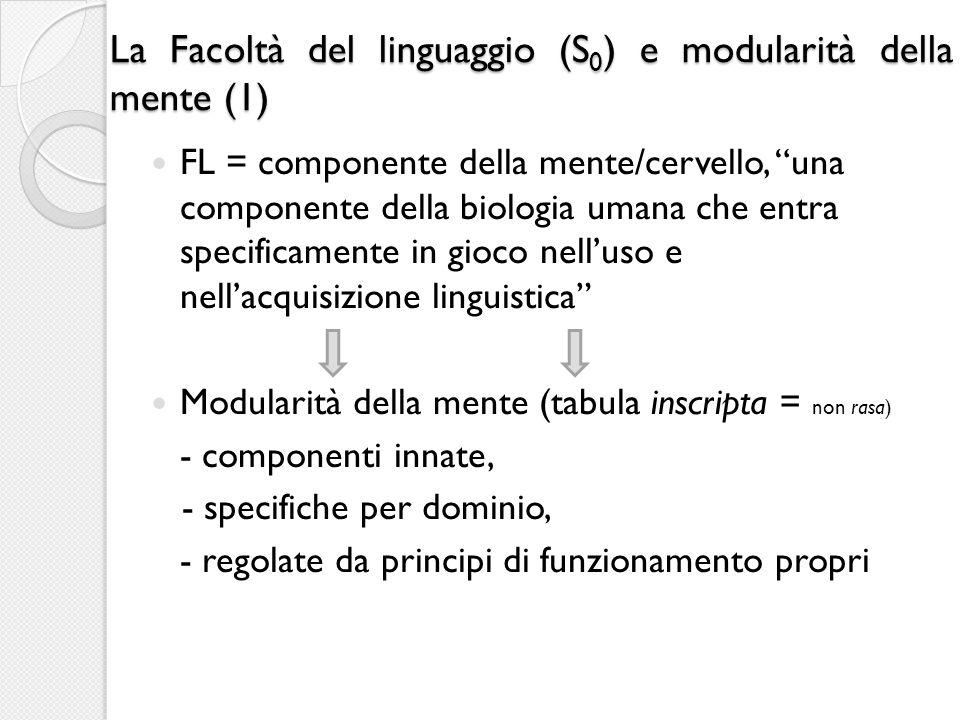 La Facoltà del linguaggio (S0) e modularità della mente (1)