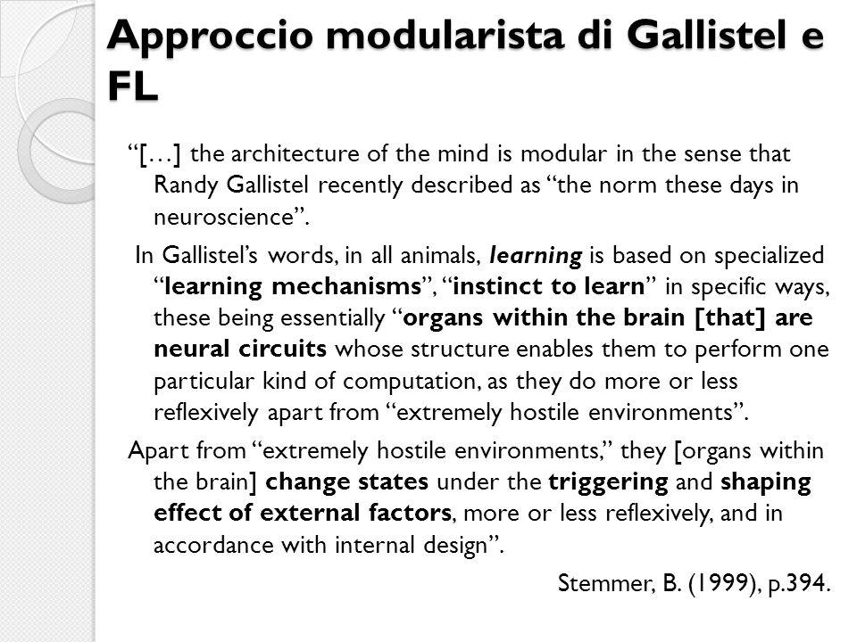 Approccio modularista di Gallistel e FL