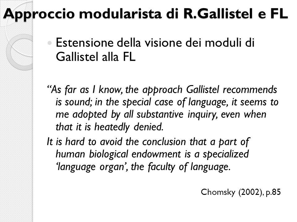 Approccio modularista di R.Gallistel e FL