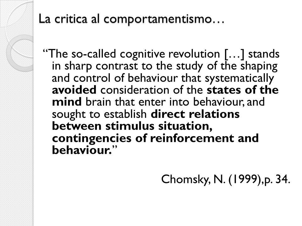 La critica al comportamentismo…
