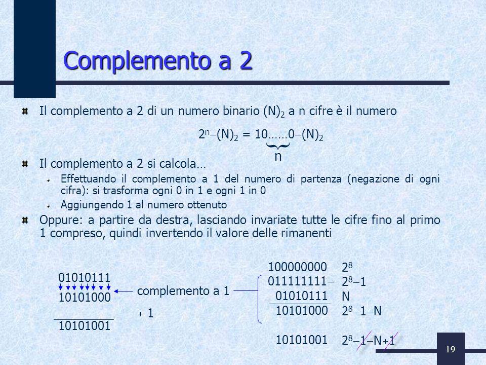 Complemento a 2 Il complemento a 2 di un numero binario (N)2 a n cifre è il numero. Il complemento a 2 si calcola…