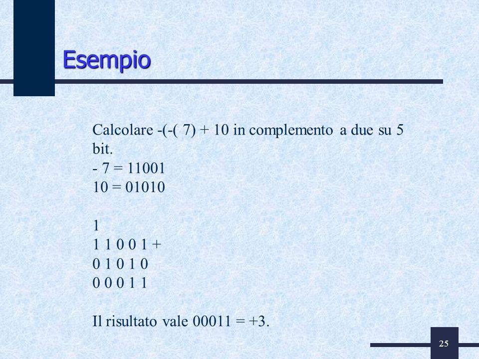 Esempio Calcolare -(-( 7) + 10 in complemento a due su 5 bit.