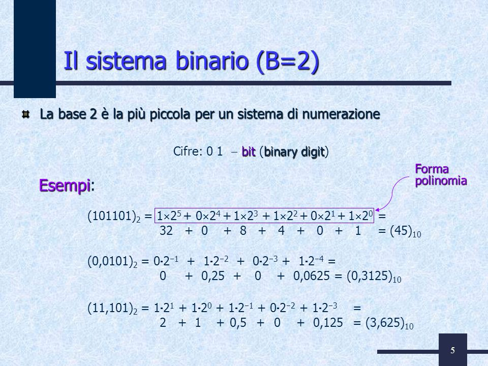 Il sistema binario (B=2)