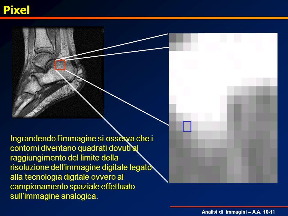 PixelIngrandendo l'immagine si osserva che i contorni diventano quadrati dovuti al.