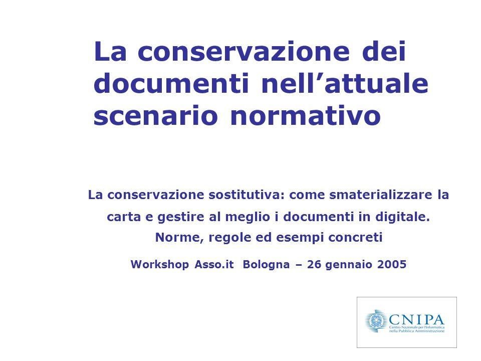La conservazione dei documenti nell'attuale scenario normativo