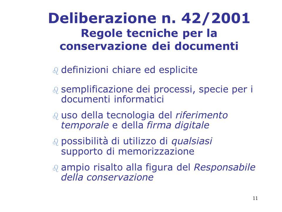 Deliberazione n. 42/2001 Regole tecniche per la conservazione dei documenti