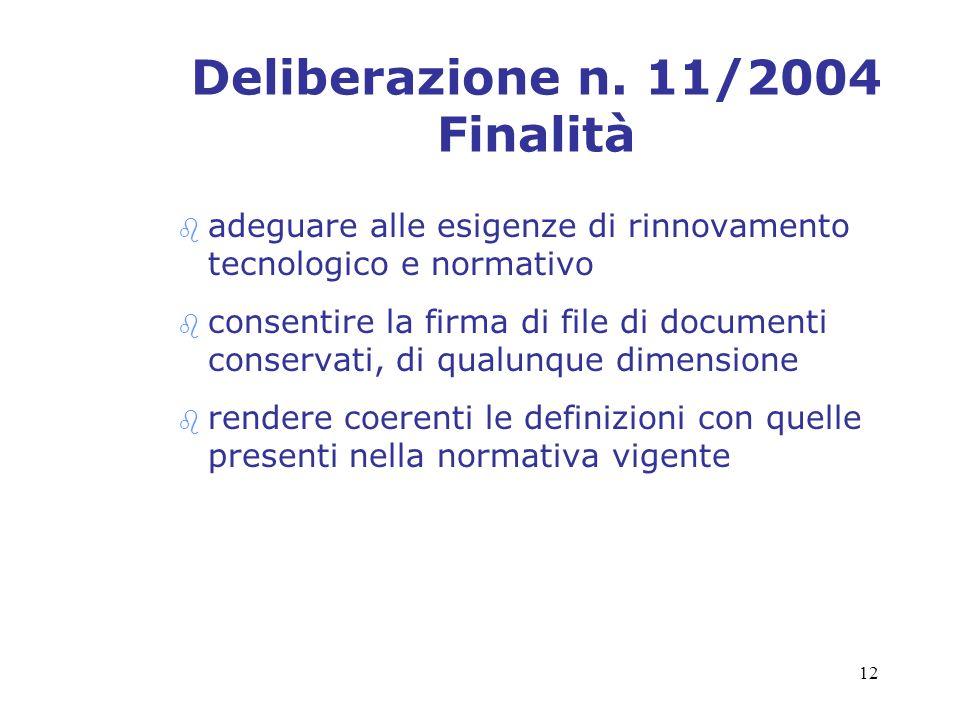 Deliberazione n. 11/2004 Finalità