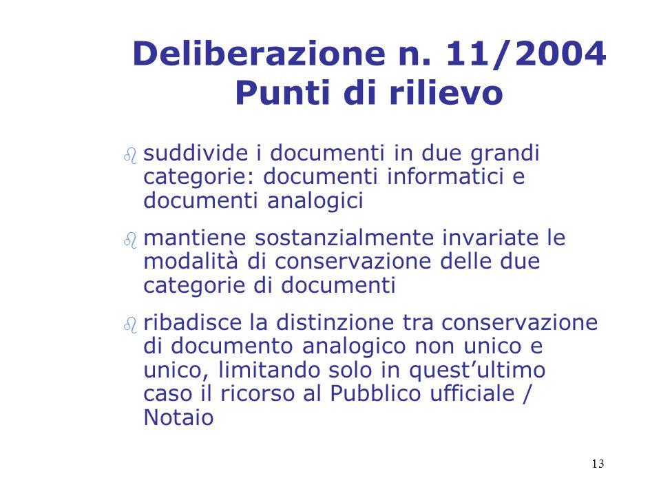 Deliberazione n. 11/2004 Punti di rilievo