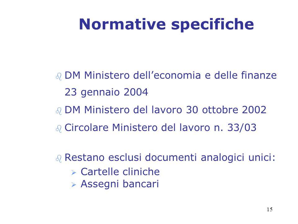 Normative specifiche DM Ministero dell'economia e delle finanze 23 gennaio 2004. DM Ministero del lavoro 30 ottobre 2002.