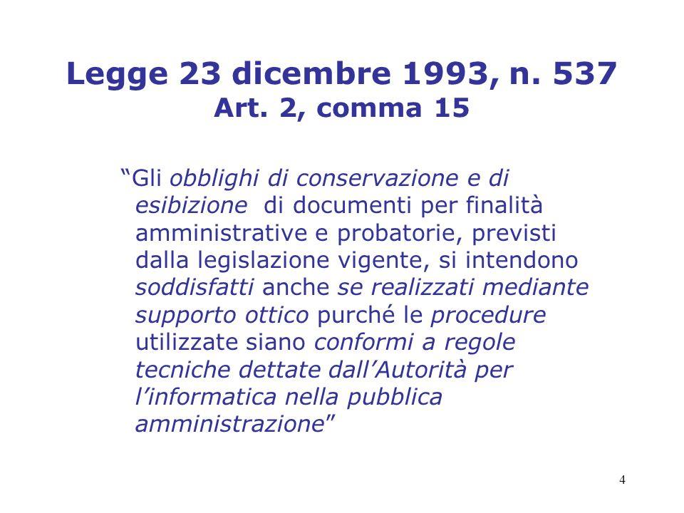 Legge 23 dicembre 1993, n. 537 Art. 2, comma 15