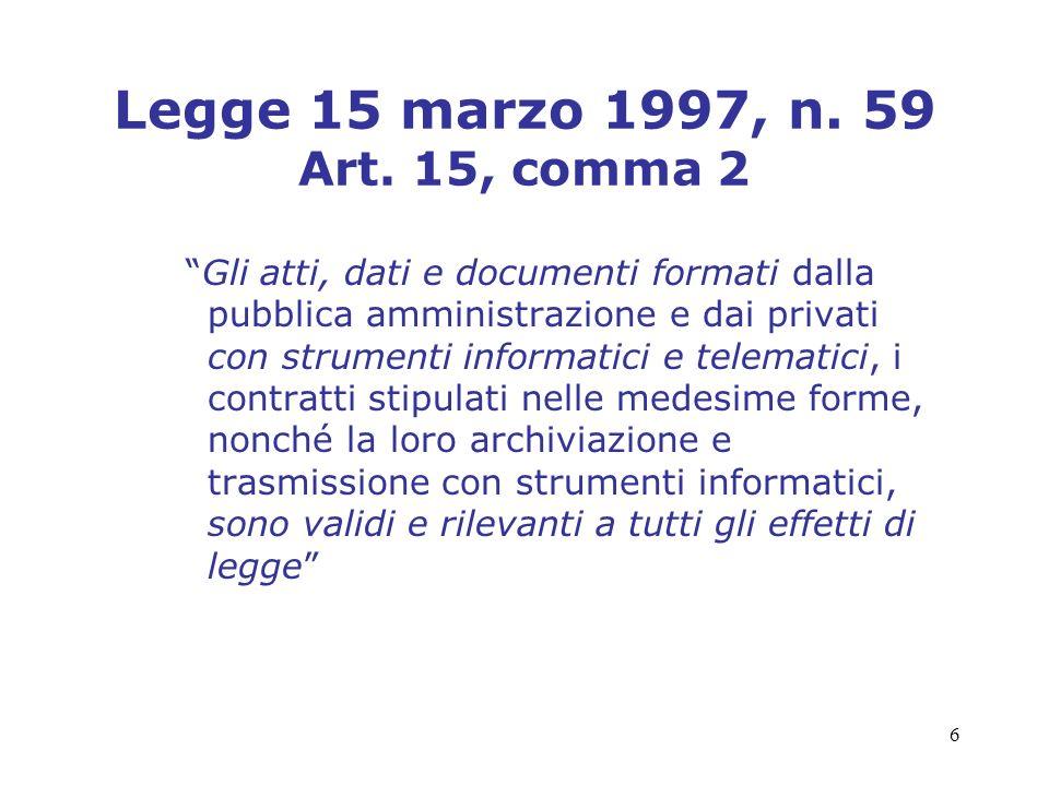 Legge 15 marzo 1997, n. 59 Art. 15, comma 2