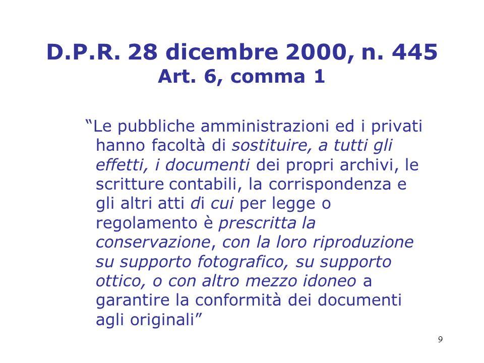 D.P.R. 28 dicembre 2000, n. 445 Art. 6, comma 1