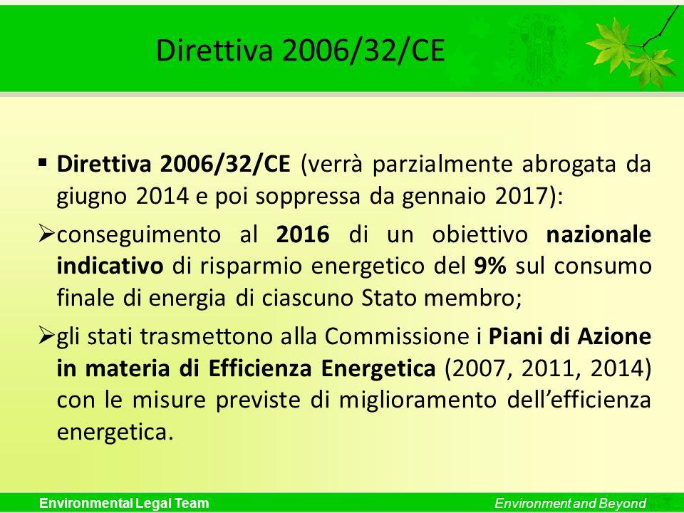 ELT Direttiva 2006/32/CE. Direttiva 2006/32/CE (verrà parzialmente abrogata da giugno 2014 e poi soppressa da gennaio 2017):