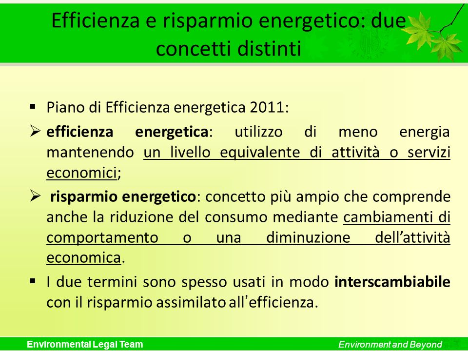 Efficienza e risparmio energetico: due concetti distinti