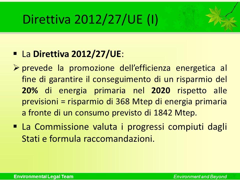 Direttiva 2012/27/UE (I) La Direttiva 2012/27/UE: