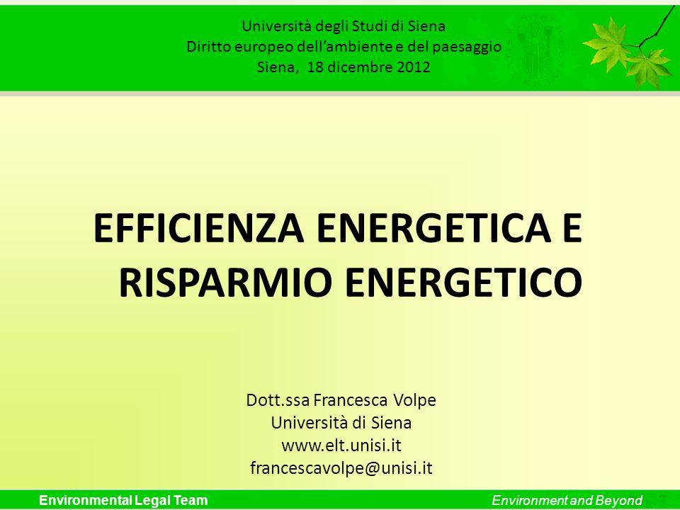 EFFICIENZA ENERGETICA E RISPARMIO ENERGETICO