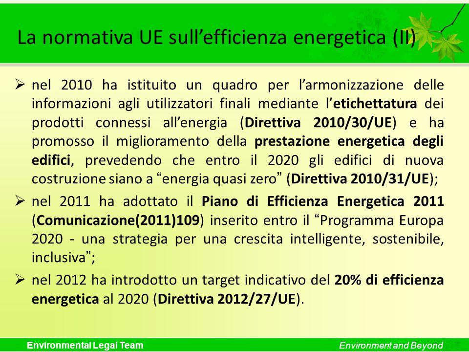 La normativa UE sull'efficienza energetica (II)