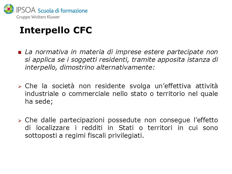 Interpello CFC