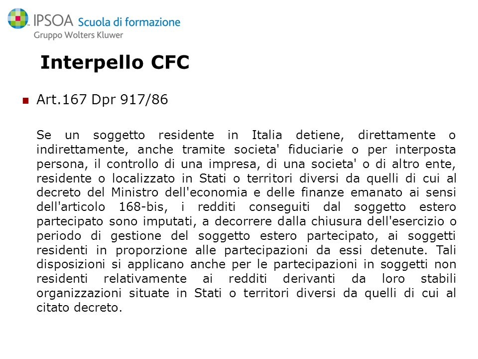 Interpello CFC Art.167 Dpr 917/86