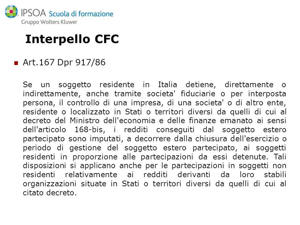 Interpello CFC Art.167 Dpr 917/86
