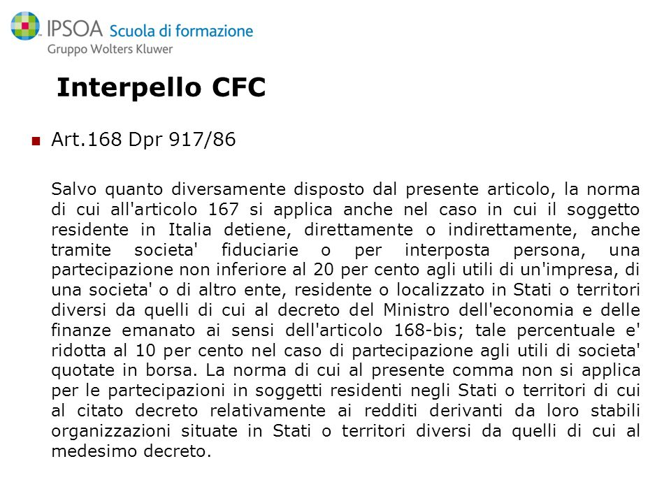 Interpello CFC Art.168 Dpr 917/86