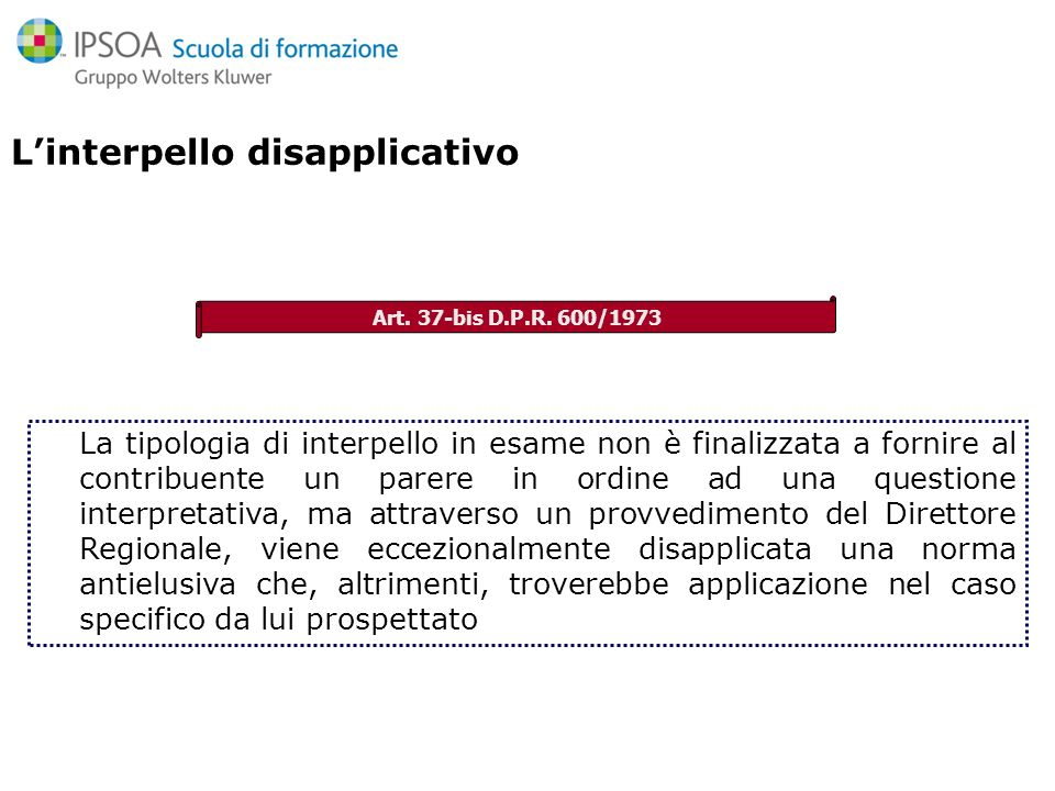L'interpello disapplicativo