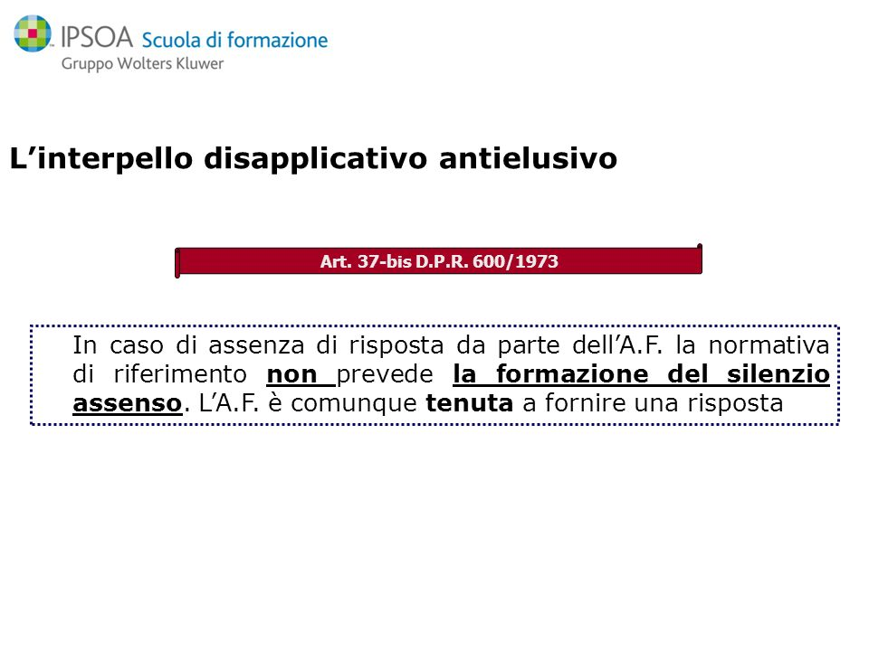 L'interpello disapplicativo antielusivo