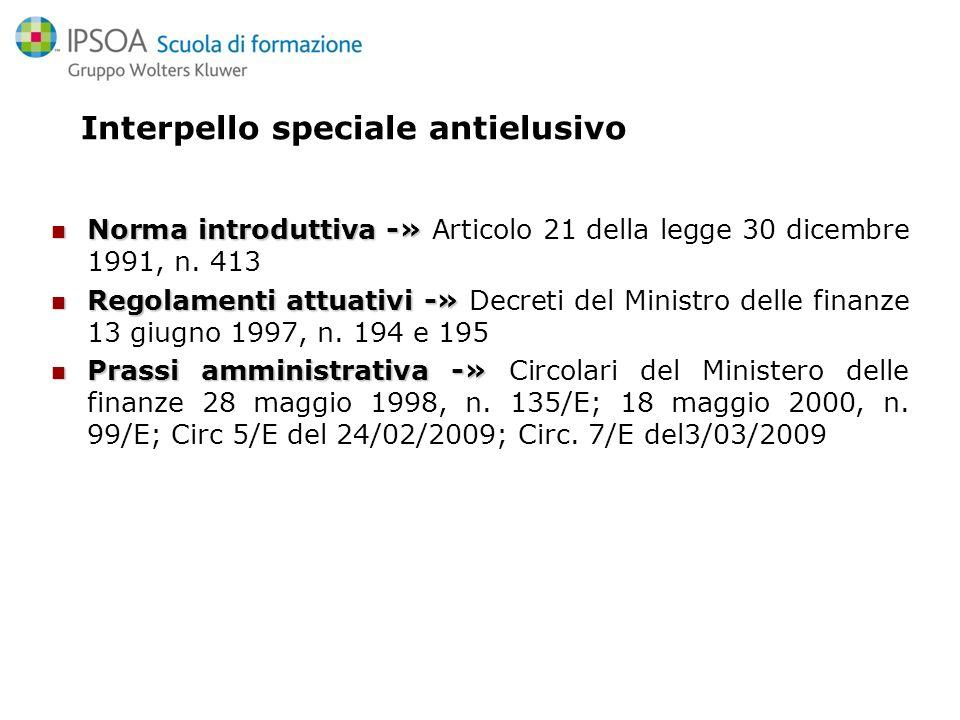 Interpello speciale antielusivo