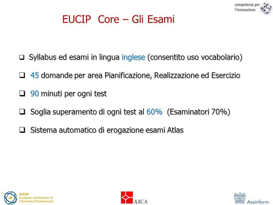 EUCIP Core – Gli EsamiSyllabus ed esami in lingua inglese (consentito uso vocabolario)