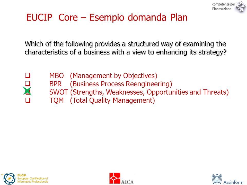 EUCIP Core – Esempio domanda Plan