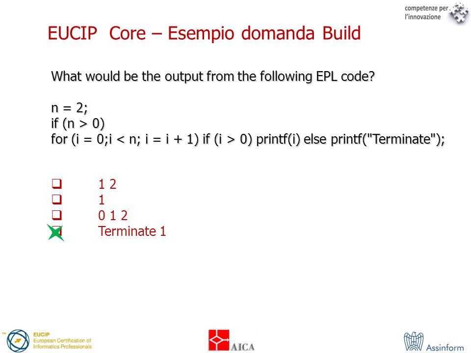 EUCIP Core – Esempio domanda Build