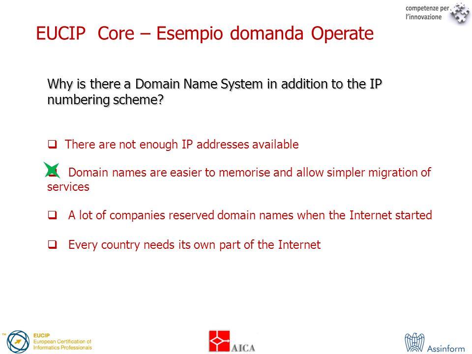 EUCIP Core – Esempio domanda Operate