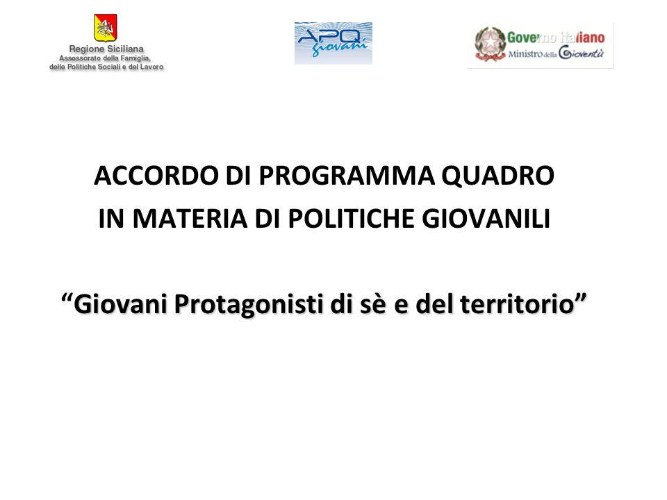 ACCORDO DI PROGRAMMA QUADRO IN MATERIA DI POLITICHE GIOVANILI