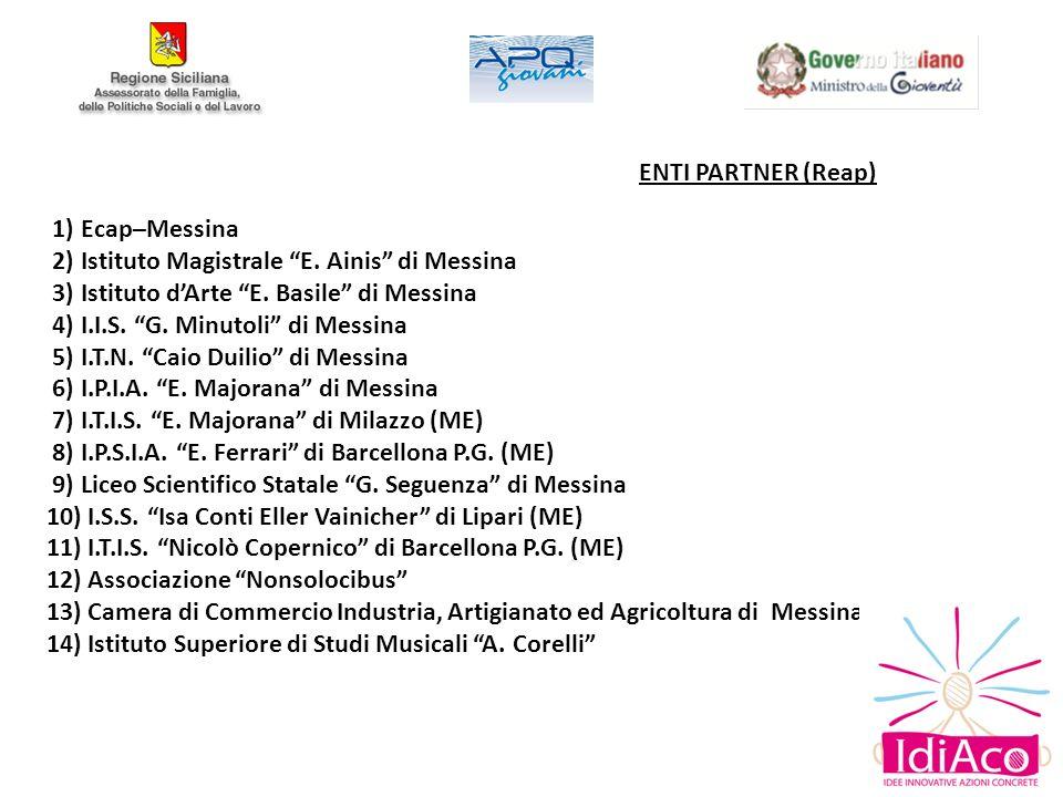 ENTI PARTNER (Reap) 1) Ecap–Messina. 2) Istituto Magistrale E. Ainis di Messina. 3) Istituto d'Arte E. Basile di Messina.